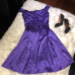 Le Chateau - Dark Purple Satin Rose Party Dress